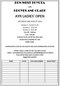 Ayr Golf Club - Open Ladies (Flyer) 2016