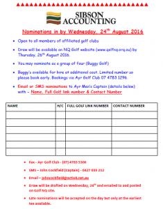 Ayr Golf Club - Open Nomination Form (2016)