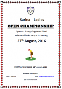 Sarina - Women's Open - Flyer (2016)