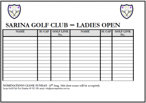 Sarina - Women's Open - Nomination Form (2016)
