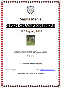 Sarina - Men's Open - Flyer (2016)