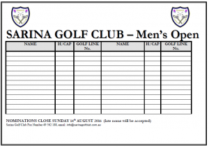 Sarina - Men's Open - Nomination Form (2016)