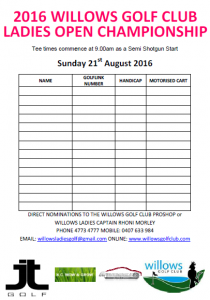 Willows - Ladies Open (NOMINATION FORM) 2016