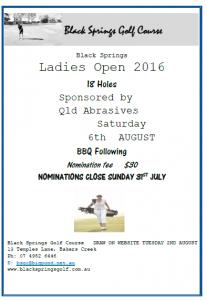 Black Springs - Ladies Open (2016) Flyer
