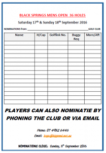 Black Springs - Men's Open (Nomination Form) 2016